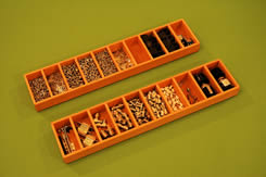 Parts Trays containing connectors. pins, screws, etc.