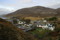 View over West Tarbert with Harris Hotel in foreground